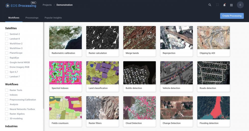 Earth Observation: find, store, analyze and process GIS data