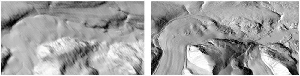 Figure 2. Comparaison de reliefs ombrés dérivés du Modèle Numérique d'Élévation du Canada (à gauche) et du nouveau produit ArcticDEM à 5 m (à droite) sur l'Île de Baffin. MNS créé par le Polar Geospatial Center à partir d'imagerie DigitalGlobe, Inc.