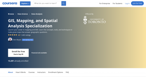 Coursera, University of Toronto's GIS, Mapping, and Spatial Analysis Specialization main page (screenshot)
