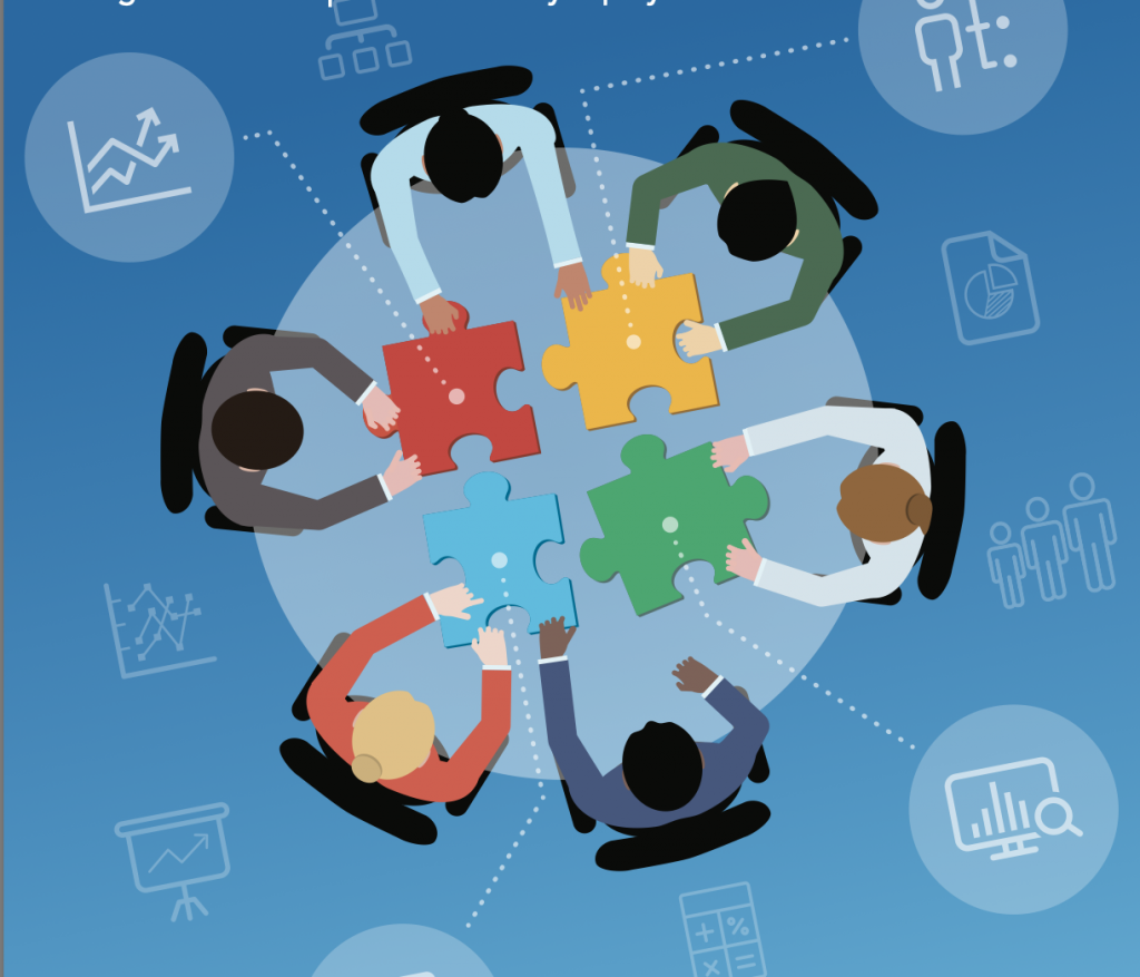 Bird's eye view Illustration of  5 people at a meeting table with jigsaw pieces of data