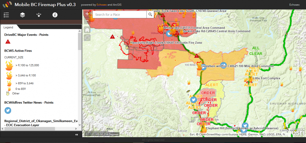Fire Map Hot Tool For Bc Residents Travellers Gogeomatics