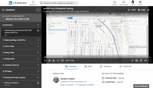 LinkedIn Learning Screenshot of ArcGIS Pro 2.4 Essential Training online course