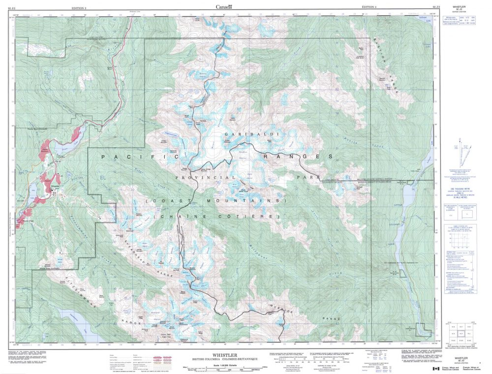 National Topographic System Map. Whistler, BC, 50K