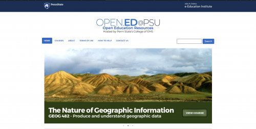 Penn State College of Earth & Mineral Sciences open courses home page screenshot