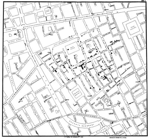 Original map by John Snow showing the clusters of cholera cases in the London epidemic of 1854