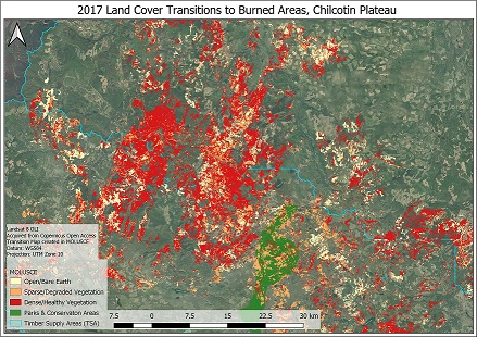 Post-Wildfire Landscape Metrics & Transition Characteristics in Cariboo Regional District, 2017