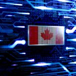Canada national official state flag in a computer technological world