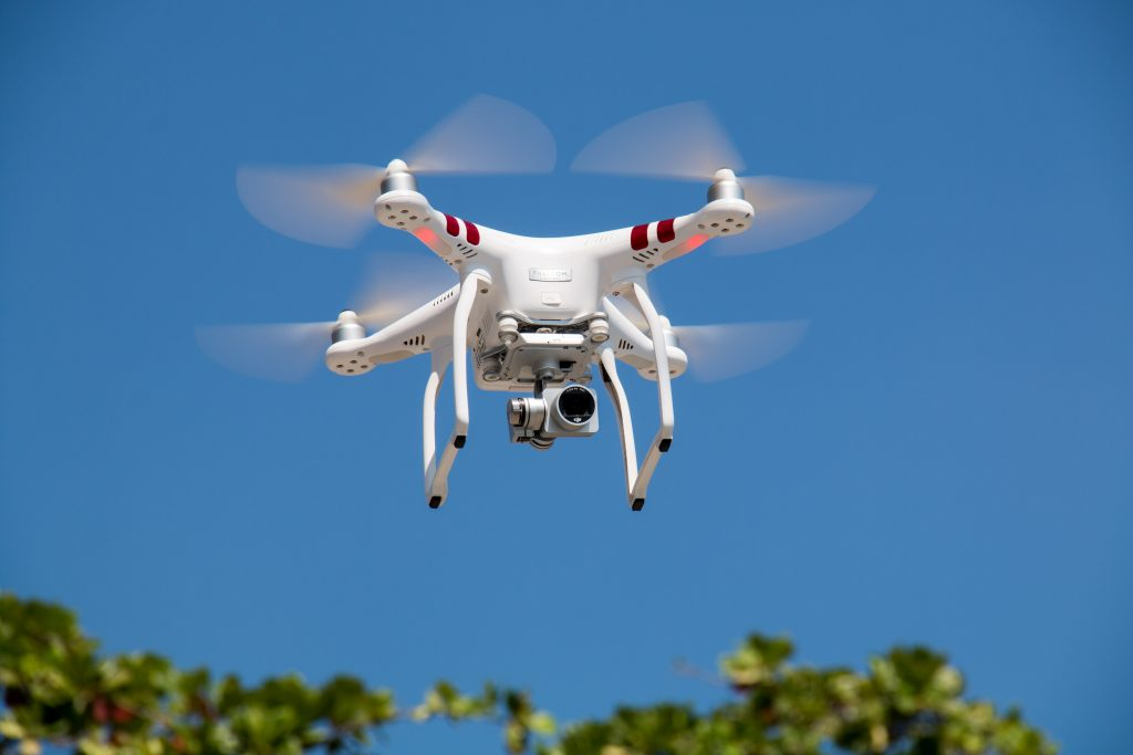 Multi-Rotor Drone flying in the sky