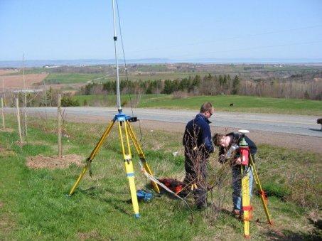 MacKinnon setting up a Leica RTK GPS unit